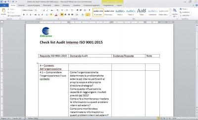 Check list Audit ISO 9001:2015
